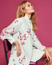 Ted Baker - Soft Blossom Embroidered Kimono Coat - Lyst