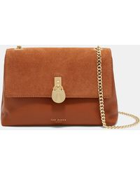 Ted Baker - Suede Padlock Cross Body Bag - Lyst