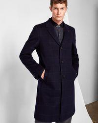 Ted Baker - Windowpane Check Wool-blend Overcoat - Lyst