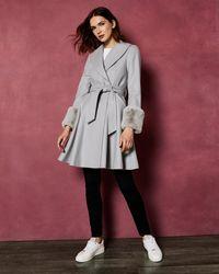 Ted Baker - Faux Fur Trim Wool Wrap Coat - Lyst