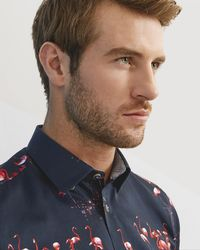 Ted Baker - Flamingo Print Cotton Shirt - Lyst