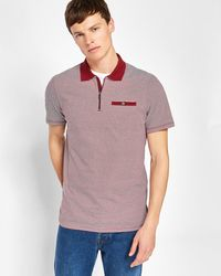 Ted Baker - Striped Cotton Polo Shirt - Lyst