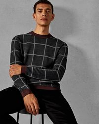 Ted Baker - Legit Checked Crewneck Sweater - Lyst