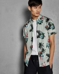 Ted Baker - Tropical Print Cotton Shirt - Lyst