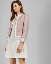 3e288d090 Ted Baker - Lace Trim Contrast Crop Jacket - Lyst