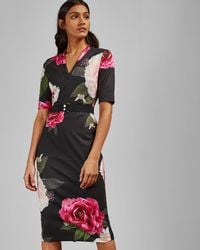 Ted Baker - Magnificent V Neck Bodycon Dress - Lyst