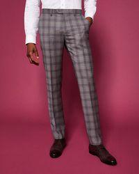 Ted Baker - Debonair Slim Fit Checked Wool Suit Trousers - Lyst