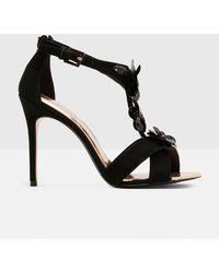 3b039d4799c6e Ted Baker - Floral Embellished Leather Heeled Sandals - Lyst