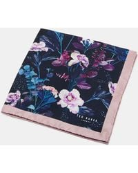 Ted Baker - Floral Print Silk Pocket Square - Lyst