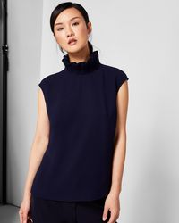 Ted Baker - Ruffle High Neck Top - Lyst
