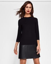 Ted Baker - Leather Zip Detail Dress - Lyst
