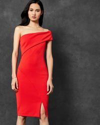 Ted Baker - One Sleeve Bardot Dress - Lyst