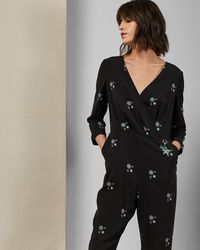 891a677232 Ted Baker Braylee Burnout Cropped Jumpsuit in Black - Lyst