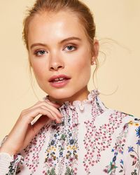 Ted Baker - Unity Floral High Neck Blouse - Lyst