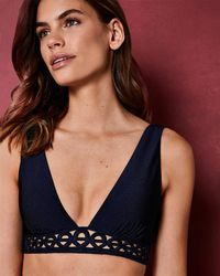 17fe0a583e18c5 Ted Baker - Embroidered Low V Bikini Top - Lyst