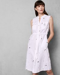 Ted Baker - Embroidered Swimmers Shirt Dress - Lyst