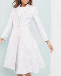 Ted Baker - Oriental Jacquard Pleated Coat - Lyst
