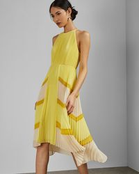 0eefd2c474fdf Ted Baker Nellina Pleated Dress in Yellow - Lyst