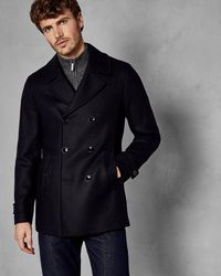 Ted Baker - Double Breasted Wool Pea Coat - Lyst