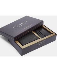 Ted Baker - Textured Leather Wallet And Card Holder Set - Lyst
