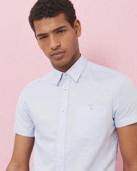 Ted Baker - Textured Cotton And Linen-blend Shirt - Lyst