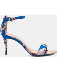 Ted Baker - Printed Ankle Strap Heeled Sandals - Lyst