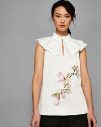 Ted Baker - Harmony High Neck Cotton Top - Lyst