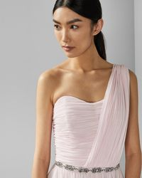 fe09f49a3 Ted Baker Strapless Tiered Maxi Dress in Pink - Lyst