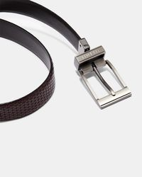 Ted Baker - Reversible Textured Leather Belt - Lyst