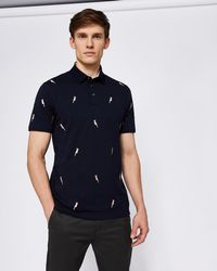 Ted Baker - Cockatoo Embroidered Cotton Polo Shirt - Lyst