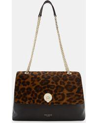 Ted Baker - Leopard Circle Lock Leather Shoulder Bag - Lyst