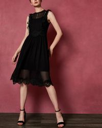 Ted Baker - Frill Lace Midi Dress - Lyst
