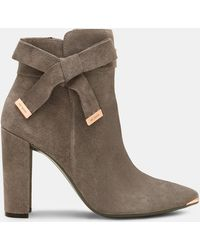 Ted Baker - Bow Detail Suede Ankle Boots - Lyst