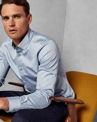 Ted Baker Satin Stretch Shirt - Blue