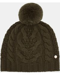 a49b2e5b35f Ted Baker - Cable Knit Wool Blend Pom Pom Hat - Lyst