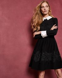 Ted Baker - Collared Lace Panel Dress - Lyst