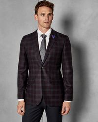 ee798d8a5 Ted Baker Checked Wool Suit Jacket in Blue for Men - Lyst