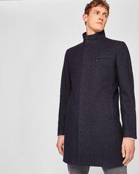 Ted Baker - Funnel Neck Wool-blend Coat - Lyst