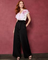 08ac84fe6fca Lyst - Ted Baker Kayle Lace   Chiffon Bodice Jumpsuit in Black