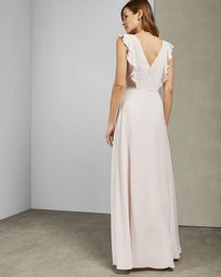 2bfe90552f37 Lyst - Ted Baker Efrona Pleated Maxi Dress in Pink