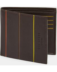 Ted Baker - Striped Piping Bi-fold Leather Wallet - Lyst