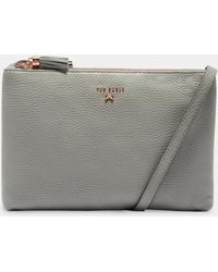 Ted Baker - Leather Double Zip Cross Body Bag - Lyst