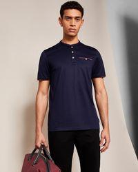 Ted Baker - Henley Neck Cotton T-shirt - Lyst