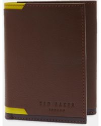 Ted Baker - Corner Detail Tri-fold Leather Wallet - Lyst