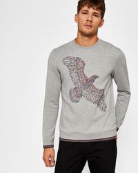 Ted Baker - Bird Motif Cotton Sweatshirt - Lyst