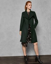 Ted Baker - Belted High Neck Wool Coat - Lyst