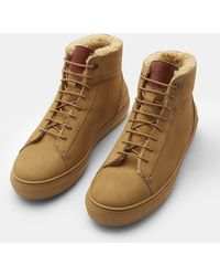 Ted Baker - Nubuck Leather Hi Top Trainers - Lyst