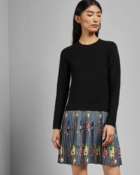 cb88f93919 Ted Baker - Izitaa Oracle Long Sleeve Pleat Skirt Dress - Lyst