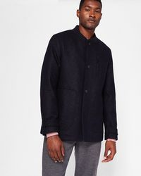 Ted Baker - Baseball Collar Wool Coat - Lyst