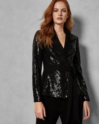 Ted Baker - Sequin Jacket With Tie Belt - Lyst